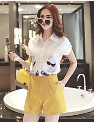 Для женщин Лето Рубашка Брюки Костюмыпросто С короткими рукавами