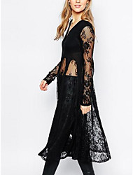 Women's Holiday Casual/Daily Sexy Simple Sheath T Shirt Dress,Solid V-neck Knee-length Long Sleeve Lace Spring Summer Mid Rise