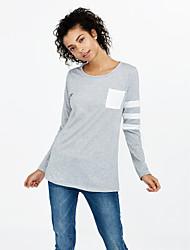 Damen Gestreift / Einfarbig Einfach Lässig/Alltäglich T-shirt,Rundhalsausschnitt Frühling Langarm Rot / Schwarz / Grau Baumwolle Dünn