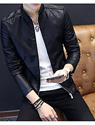 Men's Daily Modern/Comtemporary Fall Leather Jacket,Solid Stand Long Sleeve Regular Others