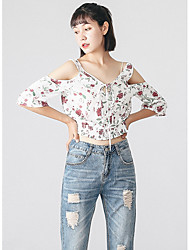 Women's Casual/Daily Simple Blouse,Floral V Neck ¾ Sleeve Cotton