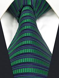 CXL19 Extra Long New For Men Neckties Dark Blue Green Stripes 100% Silk Handmade Casual Fashion Dress
