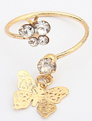 Euramerican Fashion Rhinestone Flower Butterfly Rings Adorable Elegant Daily and Party Cuff Rings  Jewelry Gifts