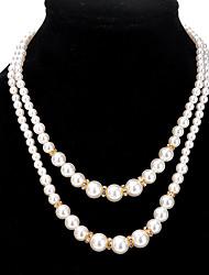 Жен. Пряди Ожерелья Круглой формы Искусственный жемчуг Сплав Мода Euramerican Двойной слой Бижутерия Назначение Свадьба