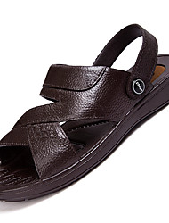 Men's Sandals Comfort Leather Summer Outdoor Walking Flat Heel Brown Black Under 1in