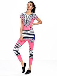 Mujer Simple Vintage Punk & Gótico Noche Casual/Diario Todas las Temporadas T-Shirt Pantalón Trajes,Escote Redondo Geométrico Estampado