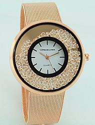 Women's Fashion Watch Floating Crystal Watch Quartz Imitation Diamond Alloy Band Casual Silver Gold Rose Gold