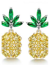 Stud Earrings Unique Design Euramerican Fashion Pineapple Creative Luxury Adorable Classic Charm Elegant Copper Platinum Plated Eco-friendly Material