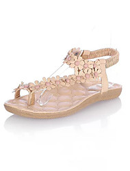Women's Shoes PU Spring Summer Club Shoes Sandals Flat Heel Open Toe Imitation Pearl Gore For Casual Dress White Almond