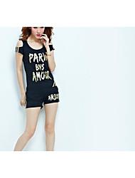 Sweat à capuche Pantalon Costumes Femme Eté Manches Courtes Col Arrondi Micro-élastique