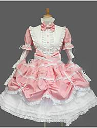 One-Piece/Dress Gothic Lolita Lolita Cosplay Lolita Dress Pink Black White Ink Blue Vintage Long Sleeve Knee-length Dress For Cotton Blend