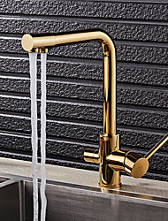 High Quality Brass Ti-PVD Water Purifier Function Two Handles One Hole Rotatable Kitchen Sink Faucet