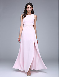 TS Couture Prom Formal Evening Dress - Furcal Sheath / Column Jewel Floor-length Chiffon with Beading Sequins
