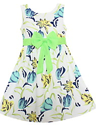 Girls Fashion Dress Blue Floral Bow Party Pageant Holiday Children Clothes