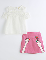 Girls' Geometric Sets,Cotton Summer Short Sleeve Clothing Set