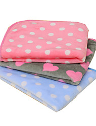 Cat Dog Bed Pet Blankets Solid Polka Dot Keep Warm Foldable Soft Purple Blue Blushing Pink