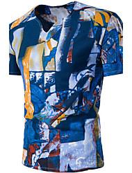Tee-shirt Homme,Imprimés Décontracté / Quotidien simple Actif Eté Manches Courtes Col en V Coton Fin