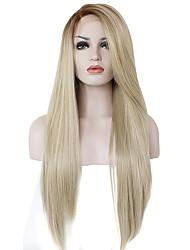 Femme Long Blond Fraise / Blond Platine Raide Ombre Hair Ligne de cheveux naturel Partie latérale Avec Bangs Cheveux SynthétiquesDentelle