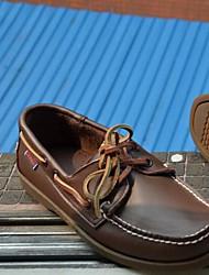 Для мужчин Топ-сайдеры Удобная обувь Натуральная кожа Весна Повседневные Удобная обувь Коричневый На плоской подошве