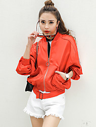 Women's Casual/Daily Simple Fall Leather Jacket,Solid Round Neck Long Sleeve Regular