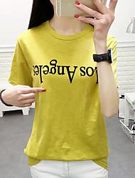 Damen Buchstabe Einfach T-shirt,Rundhalsausschnitt Kurzarm Baumwolle