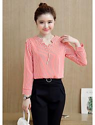 Feminino Camisa Calça Conjuntos Simples Primavera Decote V Pant Long