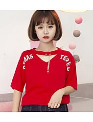 Damen Solide Niedlich T-shirt,V-Ausschnitt Kurzarm Baumwolle