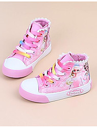 Girls' Flats Comfort Canvas Spring Fall Outdoor Casual Walking Magic Tape Low Heel Light Blue Blushing Pink Peach Flat