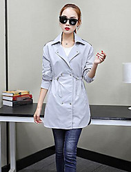 Women's Casual/Daily Simple Spring Trench Coat,Solid Shawl Lapel Long Sleeve Long Polyester