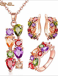 Act The Role Ofing Is Tasted Three-piece Bride Accessories And Colorful Shiny Zircon Allergy Necklace Earrings Ring Suits