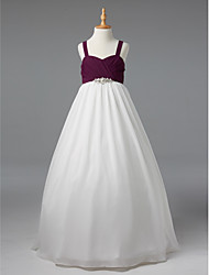 Ball Gown Straps Floor Length Chiffon Junior Bridesmaid Dress with Crystal Detailing Criss Cross by LAN TING BRIDE®