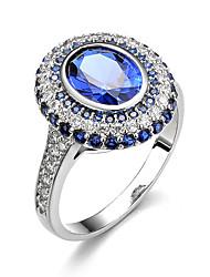 Кольцо Обручальное кольцо Сапфир Цирконий Круг Elegant Pоскошные ювелирные изделия Классика Драгоценный камень ЦирконийКруглой формы В