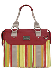 Kate&Co. stylish retro canvas with leather ladies single shoulder / diagonal cross pack TH-02039 stripe 14 inch
