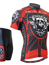 Homme ½ Manches Vélo Cyclisme Spandex Rayé Eté Cyclotourisme Noir/Rouge