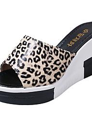Women's Slippers & Flip-Flops PU Summer Walking Hollow-out Wedge Heel White Black Yellow Black/White Black/Yellow 3in-3 3/4in