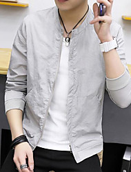 Men's Daily Modern/Comtemporary Summer Jacket,Solid Round Neck Long Sleeve Regular Others