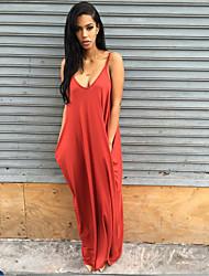 Women's A Line Dress,Solid V Neck Maxi Sleeveless Silk All Seasons High Rise Micro-elastic Thin