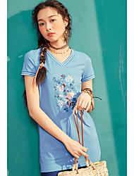 Dámské Výšivka Denní Ležérní Jednoduché Tričko Bavlna Do V Krátký rukáv