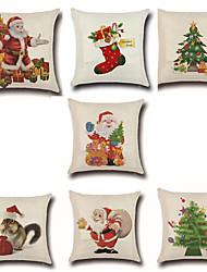 7 PC Algodón/Lino Cobertor de Cojín Funda de almohada,Novedad Moda Navidad Retro Tradicional/Clásico Euro Navidad