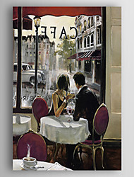 Hand-Painted  a Pair Lover Drinking Coffe  Oil Painting With Stretcher for Home Decoration Ready to Hang
