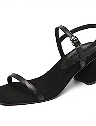 Women's Sandals Club Shoes Leatherette Summer Casual Chunky Heel Pool Coffee Black 4in-4 3/4in
