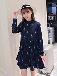 Feminino Rodado Vestido,Casual Férias Vintage Moda de Rua Estampado Colarinho Chinês Acima do Joelho Manga Longa Seda AlgodãoPrimavera