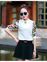 Women's Casual/Daily Simple Fall Tank Top Skirt Suits,Solid Stand Long Sleeve