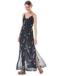 SUOQI Women Summer Dress Sexy Backless Slings Chiffon Dress Floral Print Maxi Holiday Dresses