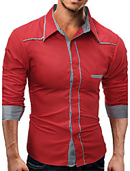 Men's Casual/Daily Chinoiserie Shirt,Solid Classic Collar Long Sleeve Cotton