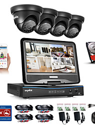 Sannce® 8ch 4pcs 720p sistema de segurança à prova de intempéries 4in1 1080p lcd dvr suportado tvi analógico ahd câmera fotográfica 1tb hd