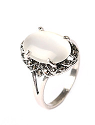 Shape For Women Wedding Romant White Plated Solid Wedding Oval Jewelry Ring