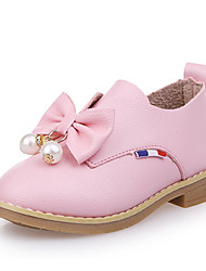 Girls' Oxfords Comfort Flower Girl Shoes PU Spring Summer Party & Evening Dress Casual Bowknot Imitation Pearl Flat HeelBlushing Pink Red