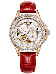 Women's Skeleton Watch Fashion Watch Mechanical Watch Japanese Automatic self-winding Water Resistant / Water Proof Leather Band White Red