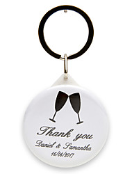 Personalized Bottle Opener / Key Ring - Toasting Flutes (set of 12)